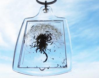 Dandelion  ring - dandelion keychain -Make A Wish Glass ring- Dandelion Seed Transparent Round real  Flower