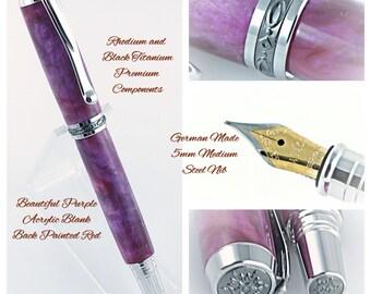 Custom Fountain Pen Custom Pen from Beautiful Purple Acrylic back painted red Rhodium and Black Titanium Hardware 811FPA
