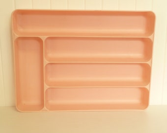 Vintage Lustro Ware Pink Silverware Cutlery Caddy Tray, Hard Plastic - Vintage Travel Trailer and Home Decor