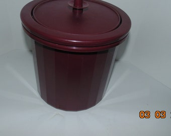 Vintage Tupperware Ice Bucket 3 pc. Burgundy Wine Color Insulated Plunger Seal #1683