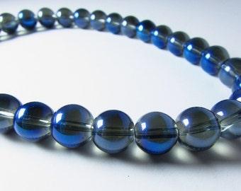 Navy Blue Mystic Coated Titanium Quartz Glass Round Ball Beads 10mm