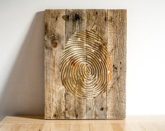 Fingerprint  Wall Art // Carved Wooden Wall Hanging for a Modern home // Free Shipping Worldwide