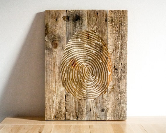 Fingerprint Wall Art Carved Wooden Wall Hanging For A