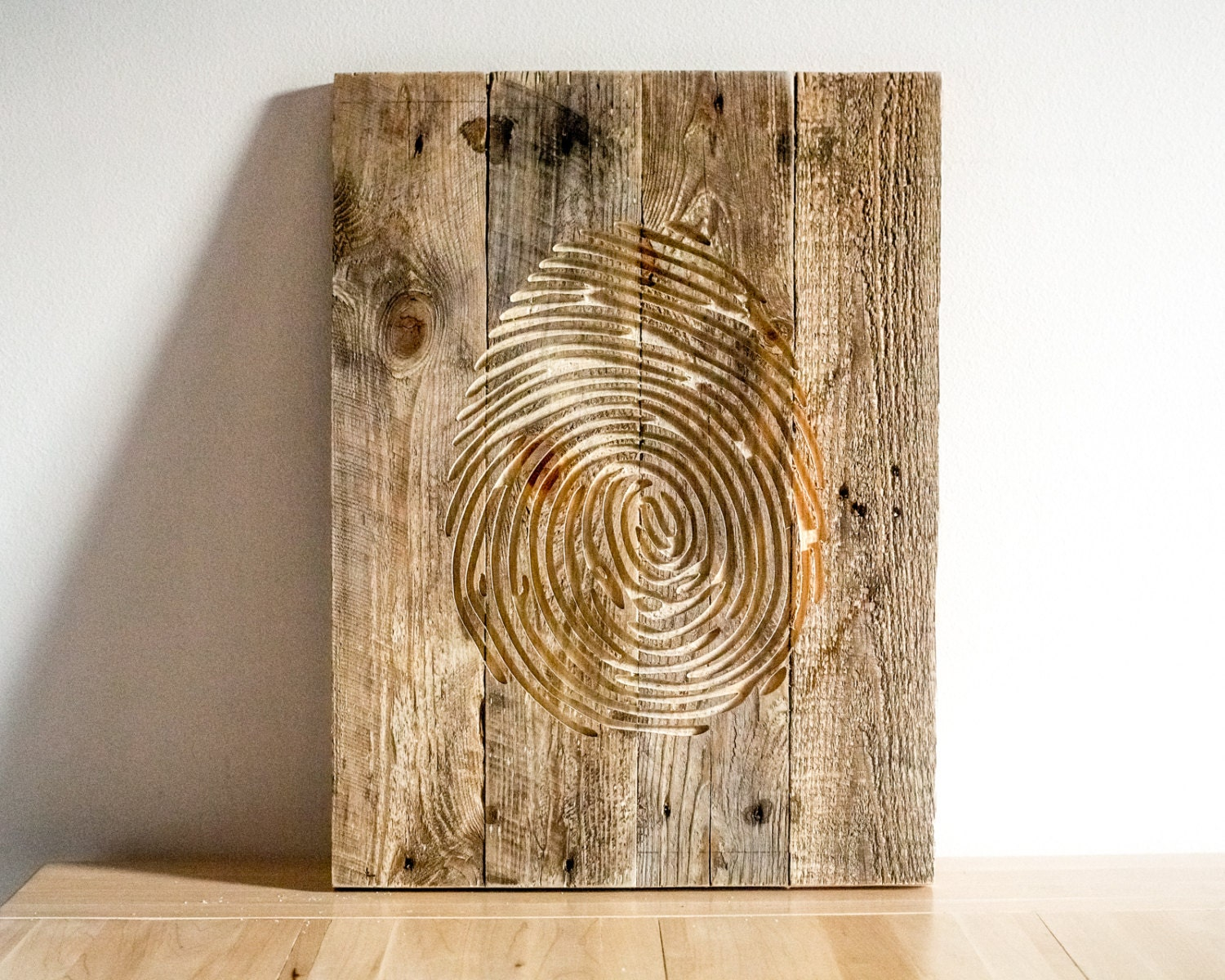Fingerprint wall art carved wooden hanging for a