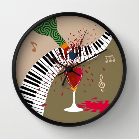 Music Clock, Wine Clock, Music Teacher Gift, Wine Decor, Wine Lover Gift, Wall Clock, Cute Wall Clock,  Red, Black