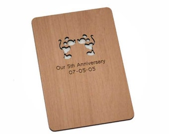 Minnie & Mickey Anniversary or Valentines Day Wood Laser-Cut Card