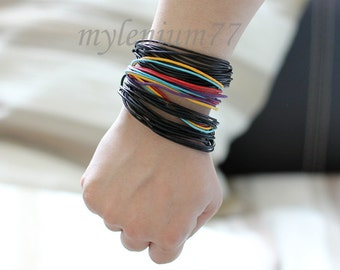 166 Men bracelet Women bracelet  Set of three (2 black and 1 color) Cords bracelet Ropes bracelet Cotton bracelet Bangle bracelet