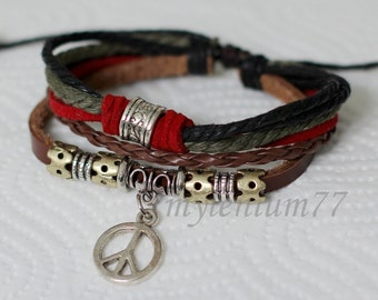 511 Women bracelet Girls bracelet Leather bracelet Peace sign bracelet Charm bracelet Beads bracelet Ropes bracelet Fashion bracelet