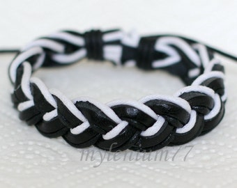 304 Men's black leather bracelet Leather cords bracelet Cotton ropes bracelet Braided bracelet Fashion jewelry Birthday gift For men & women