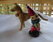 Antique Collectible Toys Stick Leg Dog Figurine Glass Eyed Putz with Circus Clown Germany France