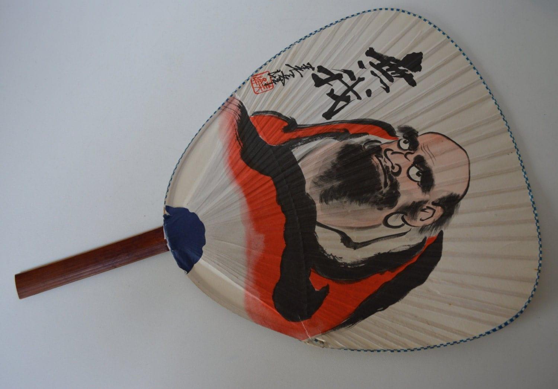 Daruma paddle fan bamboo and paper vintage japanese uchiwa - Japanese paddle fan ...