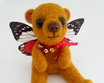 Needle felted bear with butterfly wings