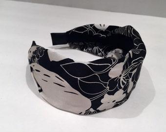 Black headband- Womens Silk Headband - Wide headband- Cover the Grey- Handmade in USA- Headdress- Black and white hair accessory- Sale