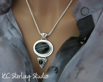 black banded agate and onyx sterling silver metalsmith pendant necklace