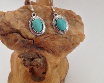 Turquoise and silver drop earrings