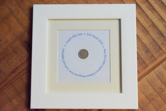 Personalised sixpence framed gift to suit any occasion. Wording can be changed for Marriages, New Home, Baptism, Naming Day, Christening etc