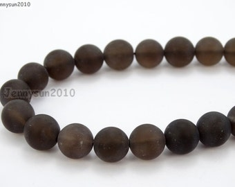 Natural Matte Smoky Quartz Frosted Gemstones 4mm 6mm 8mm 10mm 12mm Round Loose Spacer Beads 15'' Strand Jewelry Design