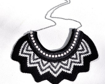 Knitted Chevron Necklace - Black, Slate Grey and Off White