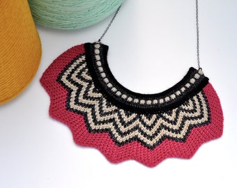 Knitted Chevron Necklace - Fuscia, Black, Slate Grey and Off White