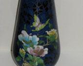 Vintage Blue Floral Cloisonné Vase