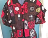 SAMURAI GRL Cropped Kimono Funky Silk Jacket, Art Collage, Appliques, Short Kimono Sleeves, with Striking Black, Red, and Chocolate Colors