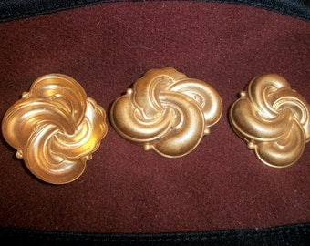 Vintage Brass Knot Stampings, Findings, Decorations x 3  # BB 14