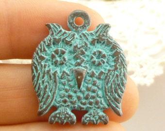 Rustic, Vintage Look, Owl Charms, Pendant - Mykonos Casting Beads (1) - M74