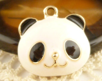 Black and White Enamel Panda Bear Charm (2) - A66