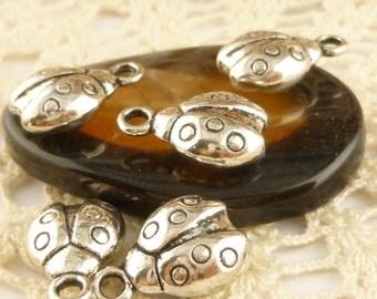 Silver Tone Ladybug Charms (6) - S56