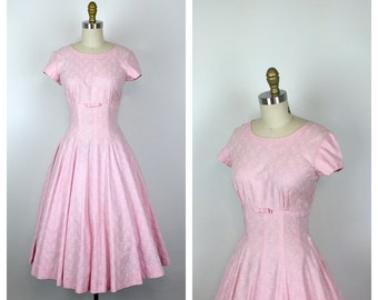 50s Pink Floral Party Dress with Bow • 1950s Light Pink Fit and Flare Cotton Dress • Full Skirt • Small