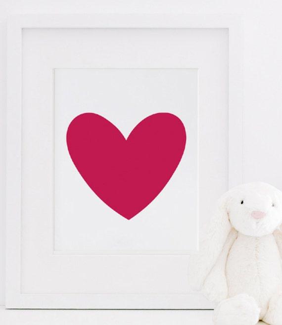 Cute Red Heart Wall Print Love Print Girl by designsbymariainc