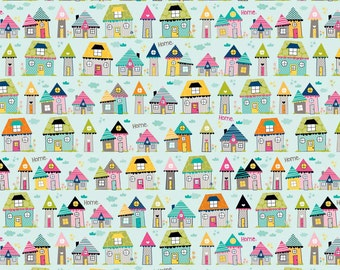 Fat Quarter Snapshots Houses Cotton Quilting Fabric Riley Blake C4072 Blue