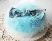 Marabou Feather Powder PUFF (large size)  Aqua Blue with Silk Brocade Bow