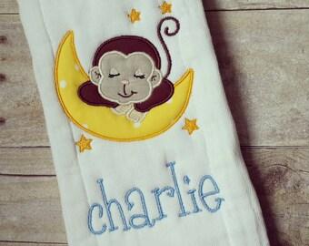 Personalized baby boy burp cloth - monkey