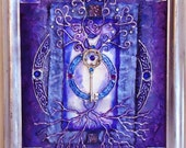 Tree of Life and the Key to Transformation: Silver, Purple and Blue mixed media textured metallic with key charm