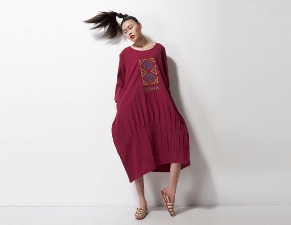 linen dress,spring linen dress,summer linen dress,long dress,Embroidered lantern dress