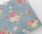 Heavy Rose Linen Cotton Fabric, Pink Rose Flower Vintage Grey BLue Background Shabby Chic Fabric Large Flower- 1/2 Yard