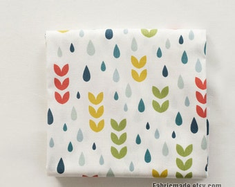 Upholstery Cotton Linen Fabric, White Linen With Pastel Spring Raindrop - 1/2 Yard