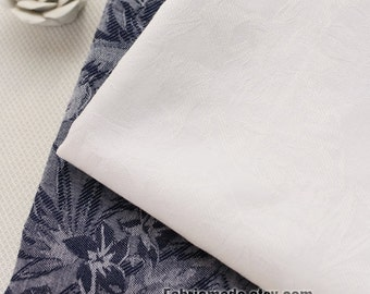 Navy Blue White Cotton Fabric With Jacquard Weave Floral For Clothing Curtain- 1/2 Yard
