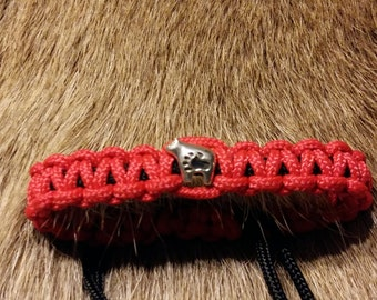 Adjustable Paracord Bracelet with 925 Sterling Silver Polar Bear Charm/Paracord/Bracelet/Red and Black~Native Made