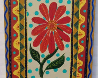 "Red Daisy  16""x20""  Acrylic on Canvas floral painting by Julie Miscera c2015"