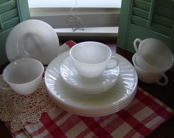 Vintage milkglass swirl plate, saucer, cup set-12 pc set wedding table decor kitchen dining serving retro chic china Fire King