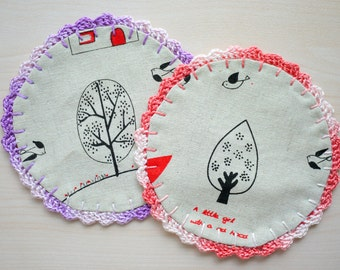 Crochet Fabric Coaster - Set of 2