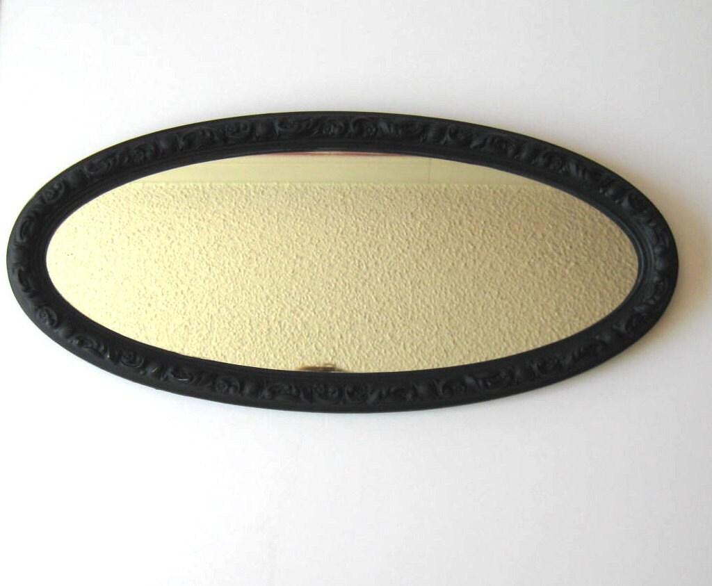 Vintage Turner Black Oval Mirror Wall Hanging Mid Century