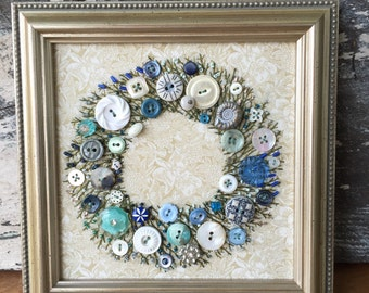 Antique Button Wreath with hand embroidery