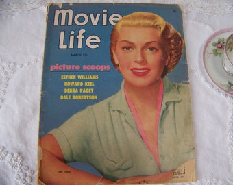 Vintage Movie Life Magazine 1953. Lana Turner on the Cover. Old Hollywood. Movie Stars. Retro Advertising. Hollywood Magazine. Retro 1950's.
