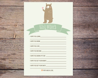 Wishes for Baby, Woodland, Gender Neutral, Baby Wish Card, Printable Well Wishes