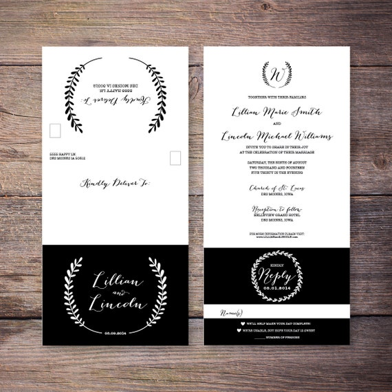 Printable Send N' Seal Wedding Invitation By LarissaKayDesigns