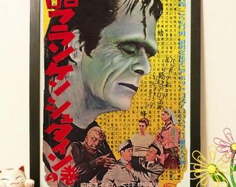 Abbott & Costello meet Frankenstein Poster Movie Japanese - Vintage Japan paper Dictionary Print