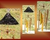 Golden Amber Black Snake Pyramid Ceramic Windchimes, Fused Glass Art, Garden Decor, Stained Glass Window Suncatcher, Hanging Mobile Pottery